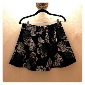 Kiersten Black Floral Skater Skirt